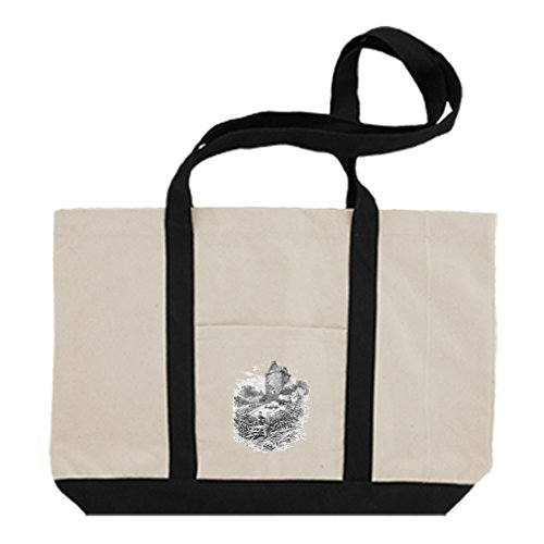 Cotton Canvas Boat Tote Bag Johnnie Armstrongs Tower Castles By Style In Print   - Castle Shops In Towers