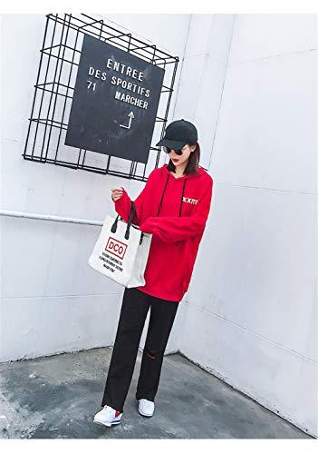 Lettre Femme Manual Rouge Hoodies Longue Manteau Sdf Mince Manches Section À Capuchon Automne 2018 Sweatshirt Lâche Nouveau Chandail Longues R7qwdzqU