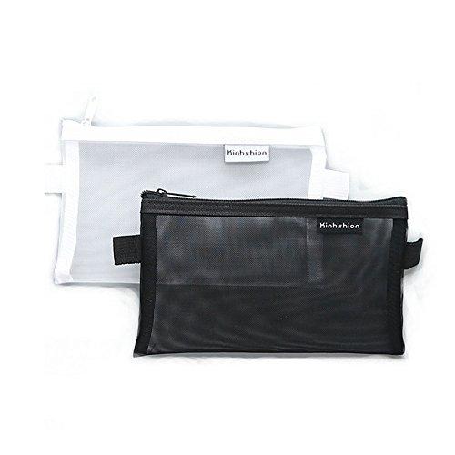 CoCocina 2 Pcs Clear Exam Pencil Case Transparent Simple Mesh Zipper Stationery Bag School