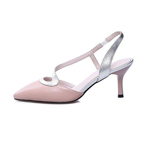 Nine Seven Cuero Moda Puntiagudos Sandalias de Tacón Aguja de Vestir para Mujer Rosa