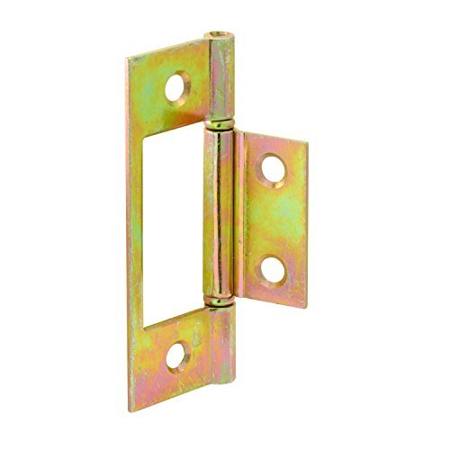Prime-Line MP6656 Bi-Fold Door Hinge, 1-7/8 in. x 3 in., Steel, Brass Plated, Non-Mortise, Pack of 6 Hinges (Bifold Closet Door Hinges)