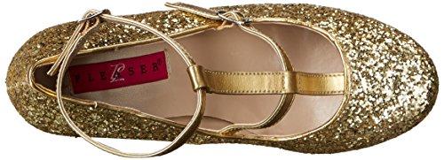 Pleaser Womens Queen01 / Gpu-gg Dress Pump Gold Met. Glitter In Ecopelle