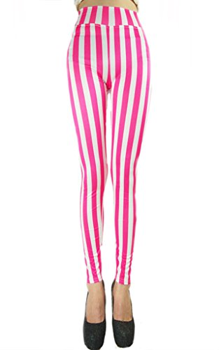 [Ouye Women's Ankle Length Vertical Striped Stretchy Leggings White Pink] (Popcorn Costume)