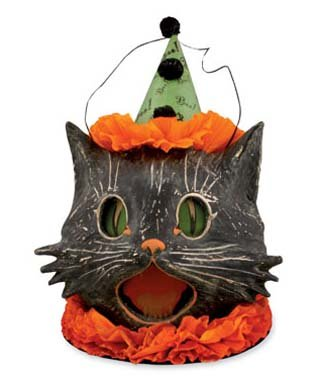 Bethany Lowe Sassy Kitty Cat Candy Container Paper Mache Halloween Bucket -