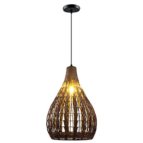 Siminda HAIXIANG Tropical Bamboo Chandelier DIY Wicker Rattan Lamp Shades Weave Hanging Light - Rattan Shade