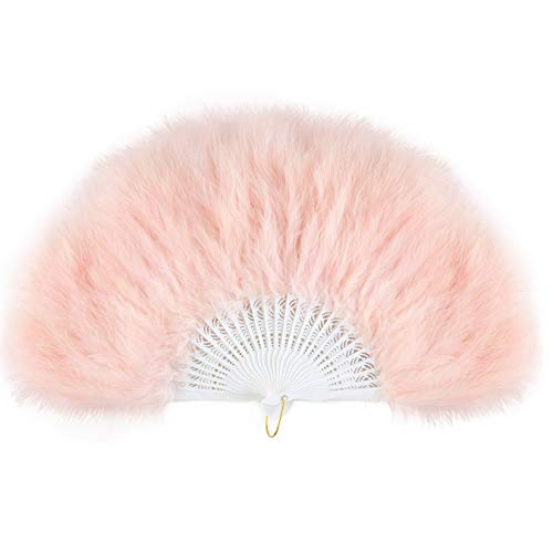 (BABEYOND Roaring 20s Vintage Style Folding Handheld Marabou Feather Fan Flapper Accessories (Light Pink))