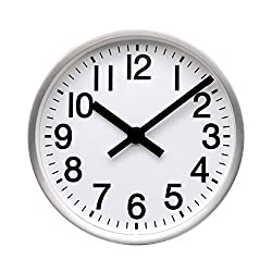 COMODO CASA Wall & Desk Clock- Metal Brush-Silver Frame-Glass Cover-Non Ticking-Quartz Sweep-Silent 6 inch Retro Clock,White