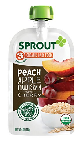 Sprout Organic Baby Food Pouches Stage 3 Sprout Baby Food, Peach Apple Multigrain with Cherry, 4 Ounce (Pack of 6); USDA Organic, Non-GMO, Made with Whole Foods, No Added (Dinner Foods)
