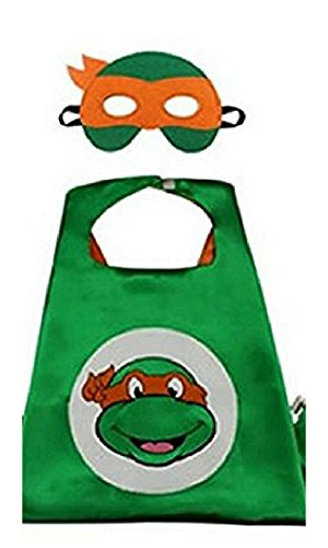 Dress Up Superhero Costume with Satin Cape and Matching Felt Mask (Ninja Turtles - (Michelangelo Ninja Turtles)