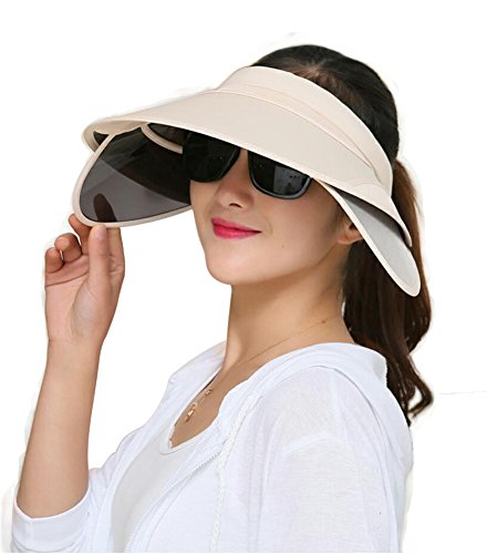 Obosoyo Women's Beach Sun Visor Solid Wide Brim Summer Sun Hat with Retractable Visor Beige One Size