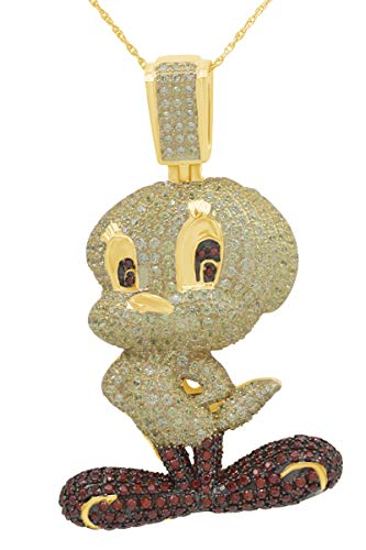 AFFY Round Cubic Zirconia Tweety Birds Hip Hop Pendant in 14k Yellow Gold Over Sterling Silver (4.11 Cttw)
