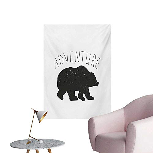 Anzhutwelve Adventure Art Decor Decals Stickers Black Silhouette of a Wild Bear Zoo Animal Nature Passion Hipster DesignCharcoal Grey White W32 xL36 Space Poster