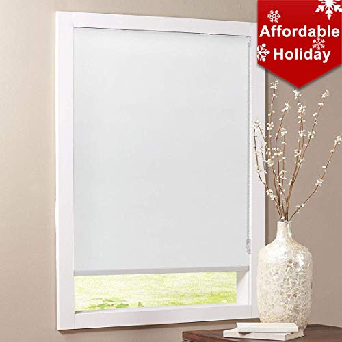 Keego Blackout Bathroom Roller Window Shades, Custom Made Oil Proof Waterproof an-ti UV Kitchen Blinds[White 100% Blackout,45″ W x 72″ H(Inch)]