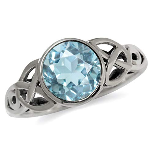 (2.41ct. Genuine Blue Topaz 925 Sterling Silver Triquetra Celtic Knot Solitaire Ring Size 8)