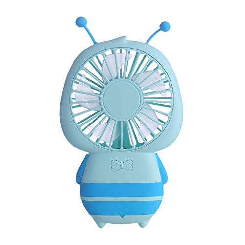 TANGON Handheld Fan, USB Mini Portable LED USB Rechargeable Cartoon Fan Air Conditioner Cool Circulation Fan Desktop Small Cooling Unit,Cooling System for Dorm, Office, Bedroom, Apartment (Light Blue)