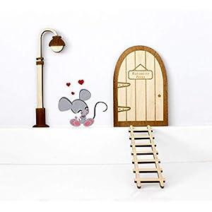 Kit ratoncito Pérez de Vinilo con Puerta, farola y Escalera de Madera para Pintar y Personalizar 12