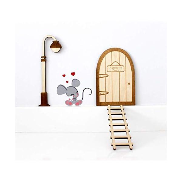 Kit ratoncito Pérez de Vinilo con Puerta, farola y Escalera de Madera para Pintar y Personalizar 2