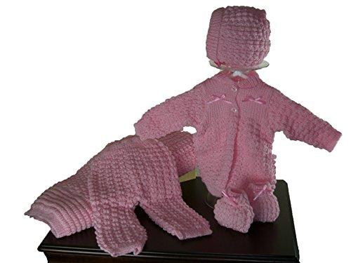 5 Pcs Knit Crochet Unisex Baby Set Blanket, Pants, Sweater, Bonnet, Booties, Size 0-3 Mo (Pink) -
