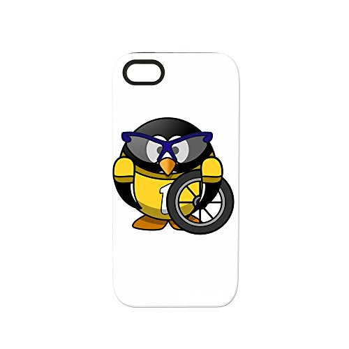 iPhone 5 or 5S Tough Rugged Case Little Round Penguin - Cyclist in Yellow Jersey