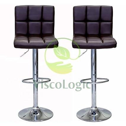 Pleasant Viscologic Liberty Swivel Leatherette Adjustable Hydraulic Bar Stool Set Of 2 Brown Machost Co Dining Chair Design Ideas Machostcouk