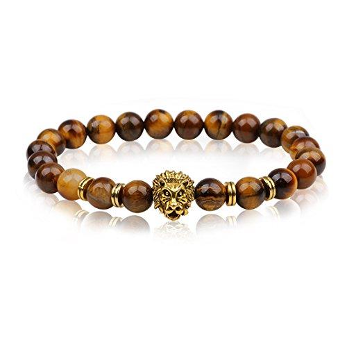 Vintage Gold Plated Lion Head 8mm Beads Chakra Rock Tigers Eye Bracelet -