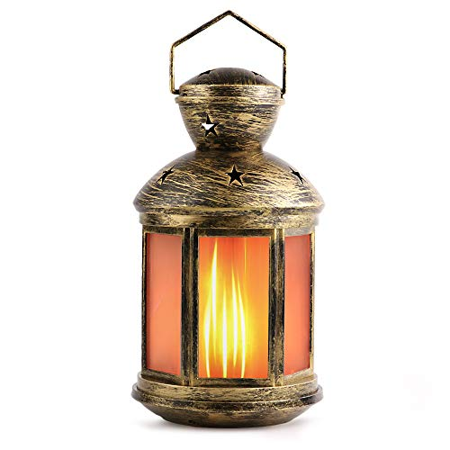 Prosperbiz Vintage Style Decorative Lantern,Flame Effect LED Lantern and Battery Operated, 6 Hour Timer, Indoor Lanterns Decorative,Outdoor Hanging Lanterns,Decorative Fireplace Lantern, 1-pack Antiqu -