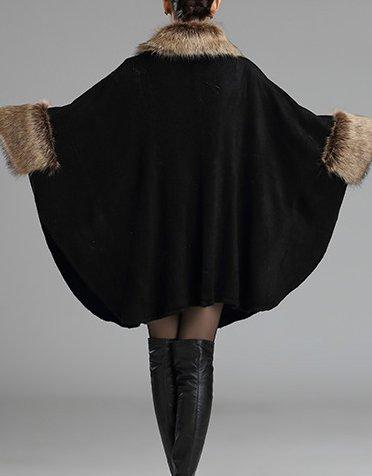 Style Chale Cape Helan Manteau fausse femmes en Cape fourrure Noir qw15A7wZ