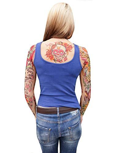 Wild Rose Ladies Tattoo Shrug Sugar Skull Skeleton Sleeves, Day of The Dead, Tan, Medium