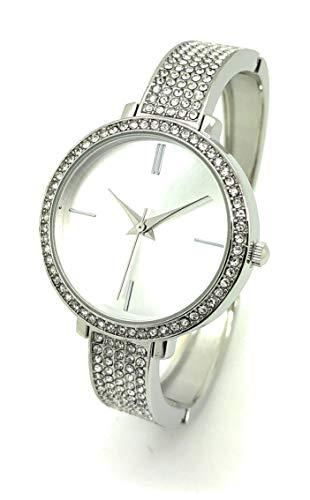Ladies 31mm Round Elegant Metal Bangle Cuff Fashion Watch Rhinestones QRTZ (Silver)