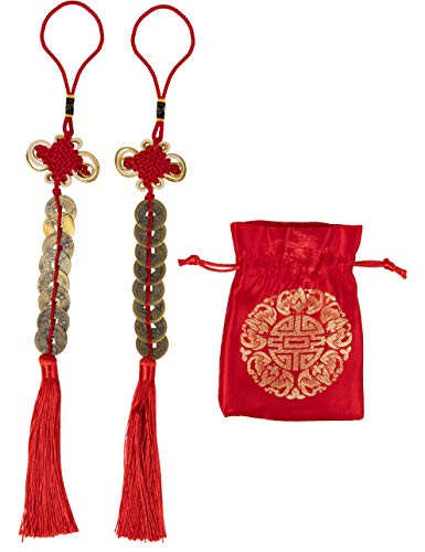 Juvale Chinese Feng Shui Coin - 2-Pack Chinese Knot, Feng Shui Lucky Coin with Red Ribbon and Bag, Fortune Coin, for Wealth and Success, Chinese New Year Decoration, 8 Coins, 14.5 x 2 Inches