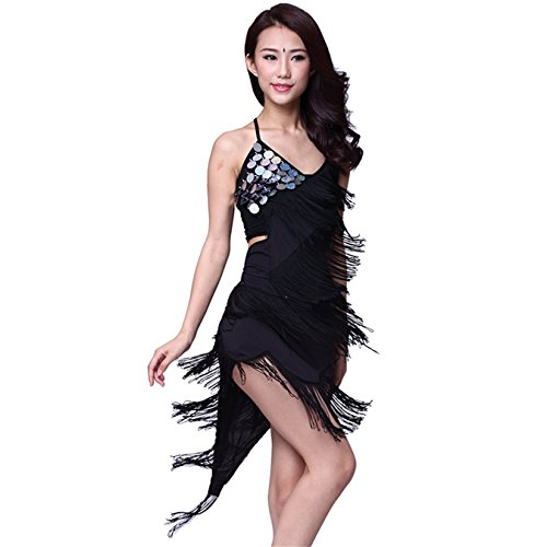 Womens Ballroom Dress Sequins+Tassels Latin Dance Skirt Standard Prom Dress Party Dress