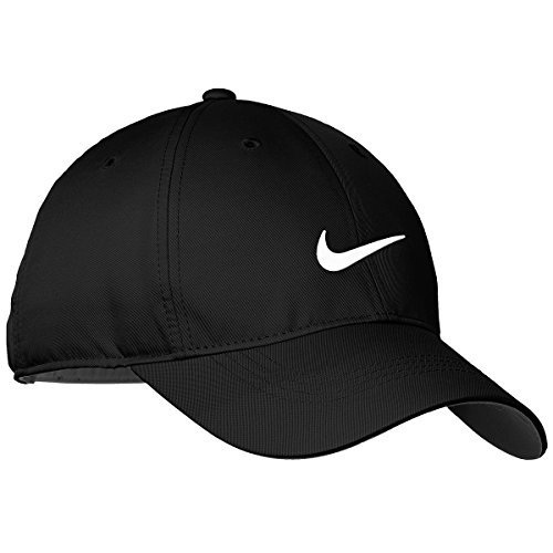 Adjustable Womens Cap Black (Nike Golf Dri-Fit Swoosh Front Cap, Black/White)