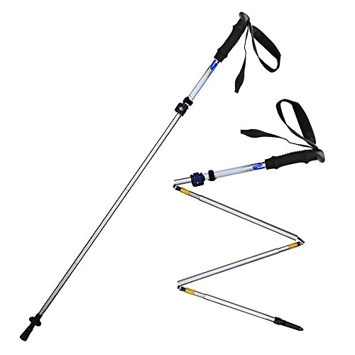 HILLPOW Aluminum Alloy Trekking Poles - Lightweight, Folding, Adjustable, Perfect For Travel Hiking Walking Climbing, Pack of 2 (Silver)