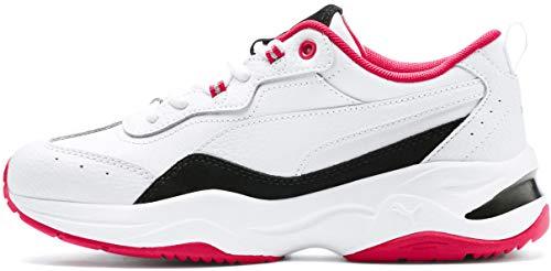 PUMA Women's Cilia Sneaker, White Black-red Rose Silver, 7.5 M - Women Red Sneakers Stripes
