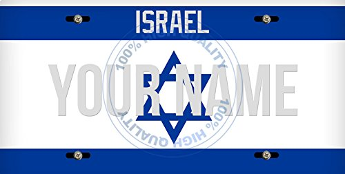 BleuReign(TM) Personalized Custom Name License Israel Plate Car Vehicle License Plate Auto Tag