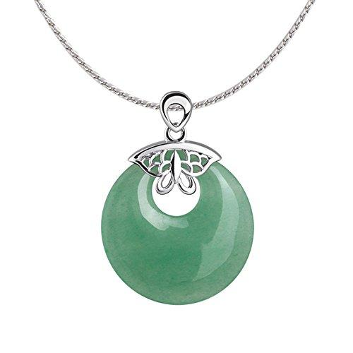 iSTONE Natural Gemstone Green Jade Donut Pendant Necklace Stainless Steel 18'' (Jade Stone Ltd)