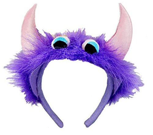 [Child Size Monster Headbands - Purple With Pink Horns] (Purple Monster Costumes)