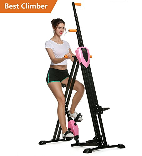 Flyerstoy Vertical Climber Cardio Exercise – Folding Exercise Climbing Machine,Total Body Workout Climber Machine for Home Gym, Exercise Bike for Home Body Trainer [US Stock] (Pink) For Sale