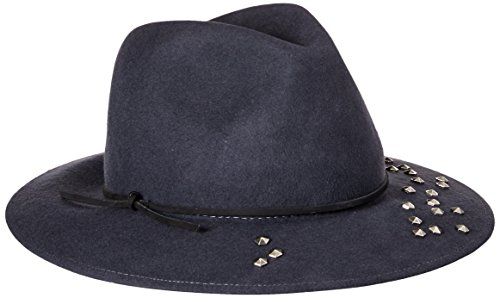 'ale by alessandra Women's Twilight Adjustable Wool Felt Hat with Leather Trim Embellished with Silver Metal Studs and Upf 50+ , Steel Grey, One Size by ale by Alessandra