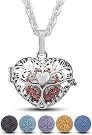 """EUDORA Lava Stone Aromatherapy Essential Oil Diffuser Locket Necklace, Aromatherapy Diffuser Pendant 24"""""""
