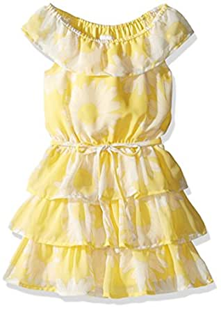 The Children's Place Big Girls' Floral Belted Dress, Sunshine, L (10/12)