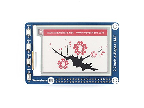 264x176 Three-color 2.7inch E-Ink Display HAT Tri-color E-paper Electronic Screen Panel SPI Interface Compatible for Raspberry Pi/STM32/Arduino by waveshare