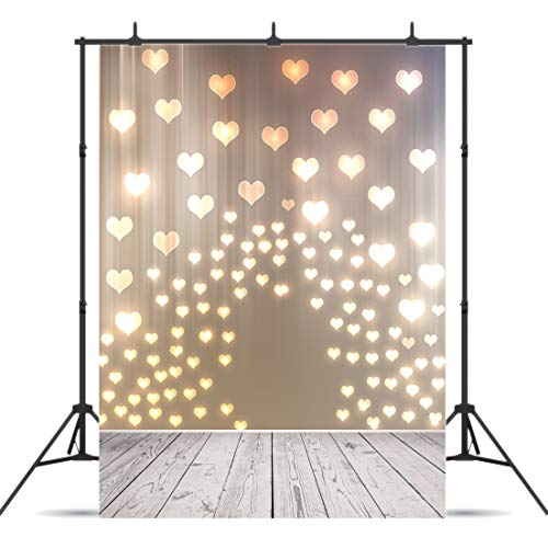 CYLYH 5x7ft Mother's Day Background Love Heart Pattern Photography Backdrops Wood Floor Photo Studio Booth Background Props 142 -