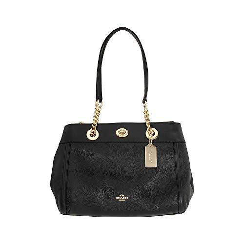 COACH Women's Polished Pebble Turnlock Edie Carryall Li/Black One Size