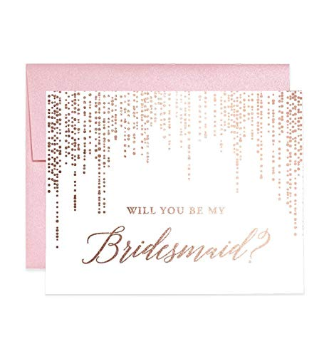 - Rose Gold Foil Bridesmaid Proposal Cards Will You Be My Brides maid? Box Pack (Set of 5) Rosegold Foiled Five Wedding Engaged Bridal Party Cards Blush Pink Shimmer Metallic Envelopes CW0007-1