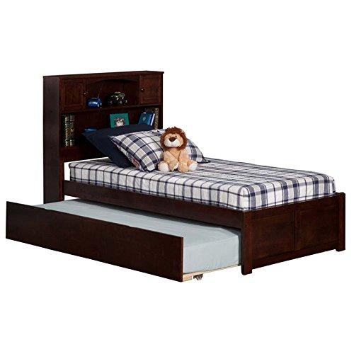 Atlantic Furniture AR8522014 Newport Platform Bed Size Urban Trundle, Twin, Walnut, Antique
