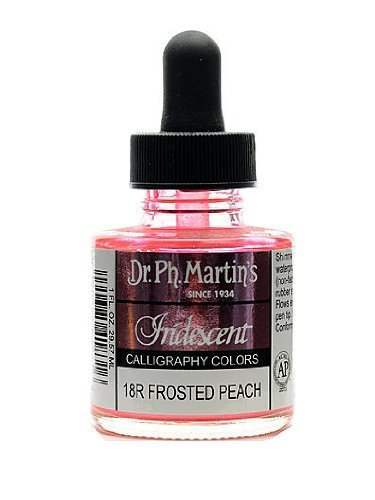 Iridescent Peach - Dr. Ph. Martin's Iridescent Calligraphy Color, 1.0 oz, Frosted Peach (18R)