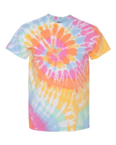 70 Gildan Tie Dye Mens Rainbow Swirl Tie-Dye Tee Crew Neck T Shirt XL Aerial (Rainbow Swirl Tie T-shirt Dye)