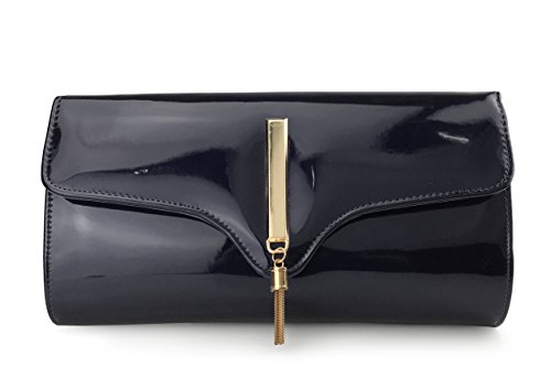 ssy Evening Clutch With Chain Strap Wedding Cocktail Party Concert Purse (Black) ()