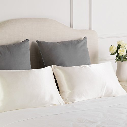 TWO-Pack Satin Pillowcases Set for Hair COOL and EASY TO WASH Standard 20x30 Ivory with Envelope - Hair Satin Pillowcase